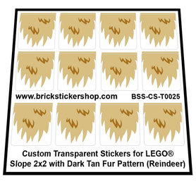 Custom Stickers for LEGO Slope 2x2 with Dark Tan Fur Pattern (Reindeer)
