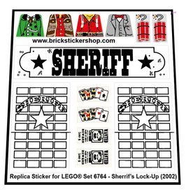 Precut Custom Replacement Stickers for Lego Set 6764 - Sheriff's Lock-Up (2002)
