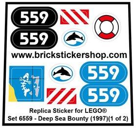 Precut Custom Replacement Sticker for LEGO Set 6559 - Deep Sea Bounty (1997)