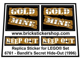 Precut Custom Replacement Stickers for Lego Set 6761 - Bandit's Secret Hide-Out (1996)