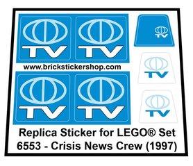 Precut Custom Replacement Stickers for Lego Set 6553 - Crisis News Crew (1997)