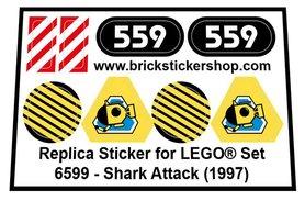 Precut Custom Replacement Sticker for LEGO Set 6599 - Shark Attack (1997)