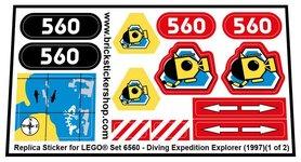 Precut Custom Replacement Sticker for LEGO Set 6560 - Diving Expedition Explorer (1997)