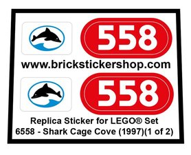 Precut Custom Replacement Sticker for LEGO Set 6558 - Shark Cage Cove (1997)