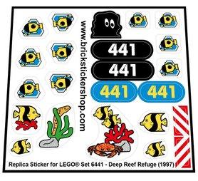 Precut Custom Replacement Stickers for Lego Set 6441 - Deep Sea Refuge (1997)