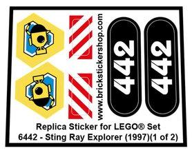 Precut Custom Replacement Sticker for LEGO Set 6442 - Sting Ray Explorer (1997)