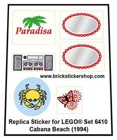 Precut Custom Replacement Stickers for Lego Set 6410 - Cabana Beach (1994)
