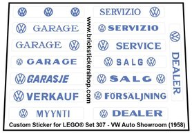Precut Custom Replacement Stickers for Lego Set 307 - VW Auto Showroom (1958)