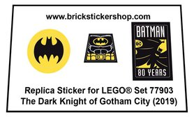 Precut Custom Replacement Stickers for Lego Set 77903 - The Dark Knight of Gotham City - San Diego Comic-Con 2019 Exclusive (2019)