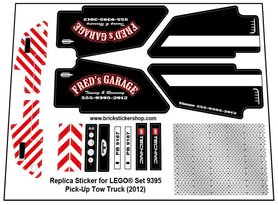 Precut Custom Replacement Stickers for Lego Set 9395 - Pick-Up Tow Truck (2012)