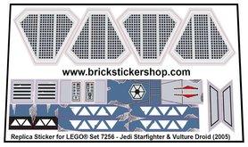 Precut Custom Replacement Stickers for Lego Set 7256 - Jedi Starfighter & Vulture Droid (2005)