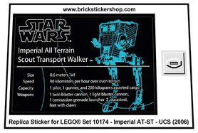 Precut Custom Replacement Stickers for Lego Set 10174 - AT-ST (UCS) (2006)