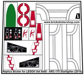 Precut Custom Replacement Stickers for Lego 8088 - ARC-170 Starfighter (2010)