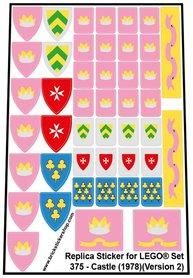 Precut Custom Replacement Stickers for Lego Set 375 - Castle (1978) (Version 2)