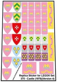 Precut Custom Replacement Stickers for Lego Set 375 - Castle (1978) (Version 4)