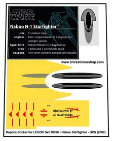 Precut Custom Replacement Stickers for Lego Set 10026 - Naboo Starfighter (UCS) (2002)