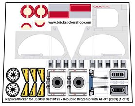 Precut Custom Replacement Stickers for Lego Set 10195 - Republic Dropship with AT-OT (2009)