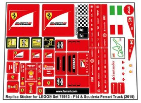 Precut Custom Replacement Stickers for Lego Set 75913 - F14 T & Scuderia Ferrari Truck (2015)