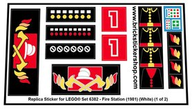 Precut Custom Replacement Stickers for Lego Set 6382 - Fire Station (1981)