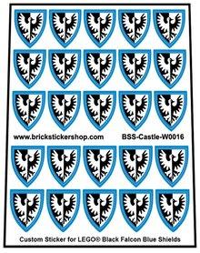 Precut Lego Custom Stickers for Black Falcon (Blue) Shields