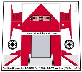 Precut Custom Replacement Stickers for Lego set 7675 - AT-TE Walker
