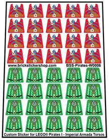 Precut Lego Custom Stickers for Pirates I - Imperial Armada Torsos