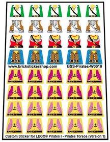 Precut Lego Custom Stickers for Pirates I - Pirates Torsos
