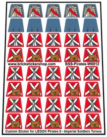 Precut Lego Custom Stickers for Pirates II - Imperial Soldiers Torsos