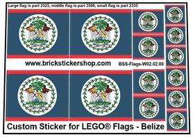 Precut Custom Stickers for LEGO Flags - Flag of Belize