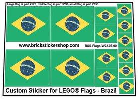 Precut Custom Stickers for LEGO Flags - Flag of Brazil