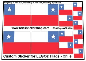 Precut Custom Stickers for LEGO Flags - Flag of Chile