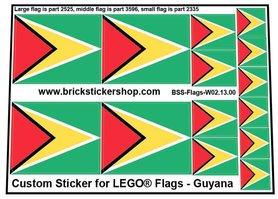Precut Custom Stickers for LEGO Flags - Flag of Guyana