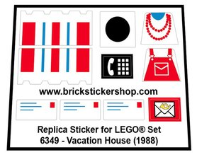 Precut Custom Replacement Stickers for Lego Set 6349 - Vacation House (1988)