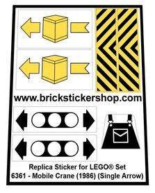Precut Custom Replacement Stickers for Lego Set 6361 - Mobile Crane (1986) (Single Arrow)