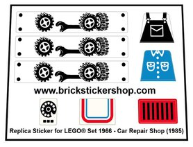 Precut Custom Replacement Stickers for Lego Set 1966 - Car Repair Shop (1985)