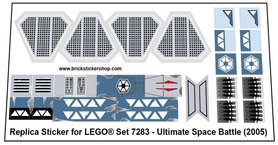 Precut Custom Replacement Stickers for Lego Set 7283- Ultimate Space Battle (2005)