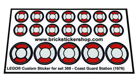 Precut Custom Replacement Stickers voor Lego Set 369 - Coast Guard Station (1976)
