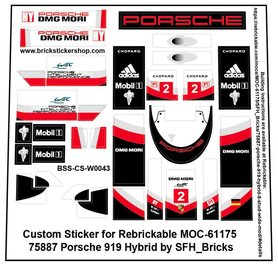Precut Custom Stickers for LEGO Rebrickable MOC 61175 - Porsche 919 Hybrid