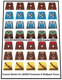 Lego Custom Precut Stickers for Forestmen & Wolfpack Torsos