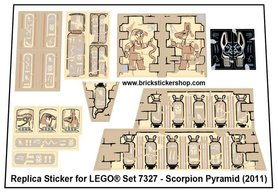 Precut Custom Replacement Stickers for Lego Set 7327 - Scorpion Pyramid (2011)