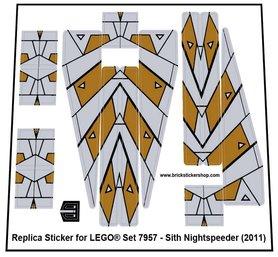 Precut Custom Replacement Stickers for Lego Set 7957 - Sith Nightspeeder (2011)