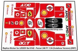 Precut Custom Replacement Stickers for Lego Set 8142 - Ferrari 248 F1 1:24 (Vodafone Version)