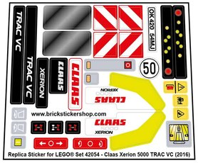 Precut Custom Replacement Stickers for Lego Set 42054 - CLAAS XERION 5000 TRAC VC (2016)