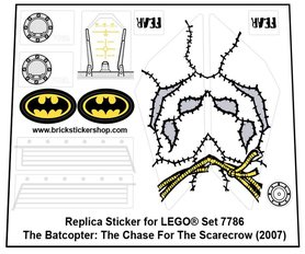 Precut Custom Replacement Stickers for Lego Set 7786 - The Batcopter: The Chase for the Scarecrow (2007)