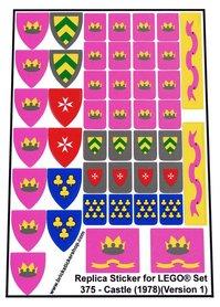 Precut Custom Replacement Stickers for Lego Set 375 - Castle (1978) (Version 1)
