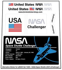 Alternative Custom Sticker for LEGO set 10283 - NASA Space Shuttle Challenger (2021)