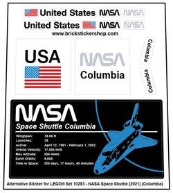 Alternative Custom Sticker for LEGO set 10283 - NASA Space Shuttle Columbia (2021)