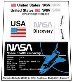 Alternative Custom Sticker for LEGO set 10283 - NASA Space Shuttle Discovery (2021)