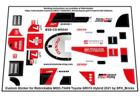 Precut Custom Stickers for LEGO Rebrickable MOC 75409 -Toyota GR010