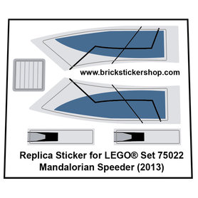 Precut Custom Replacement Stickers for Lego Set 75022 - Mandalorian Speeder (2013)